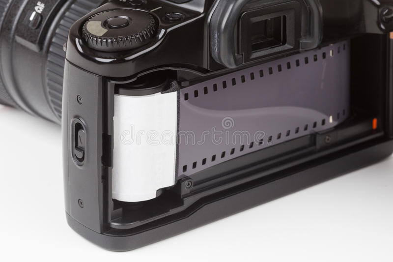 Analog SLR camera. With the inserted film royalty free stock images