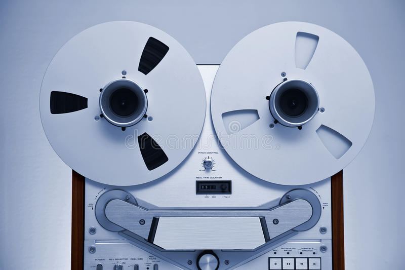 Analog Stereo Open Reel Tape Deck Recorder. With large reels stock image