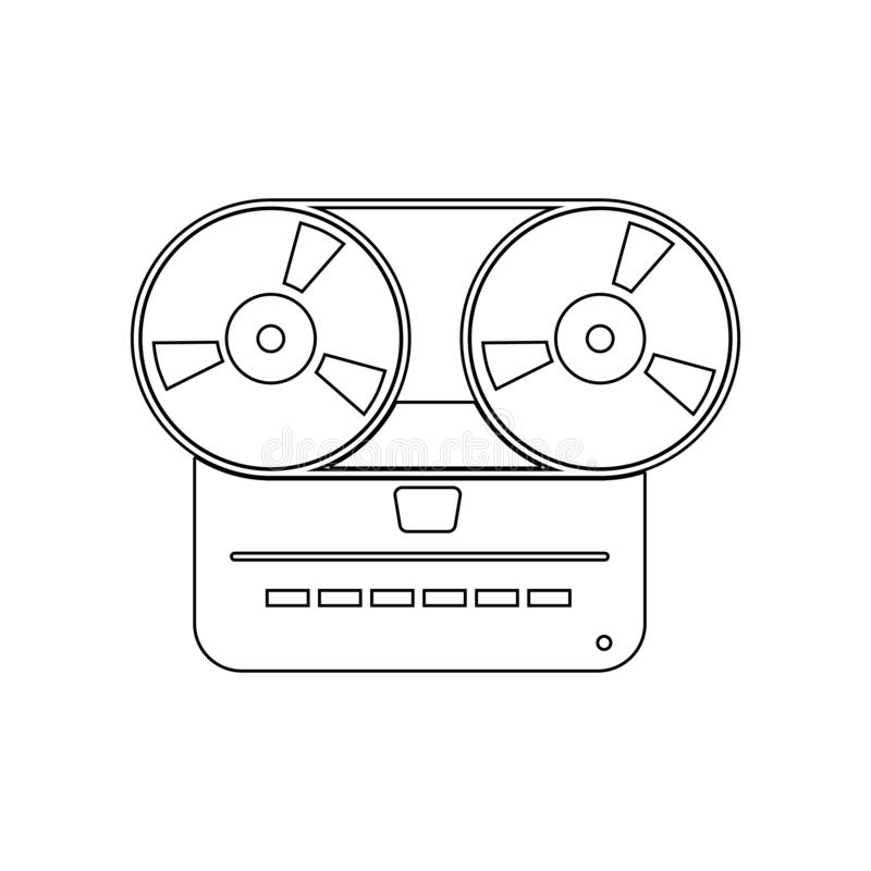 Analog stereo open reel tape deck recorder icon. Element of music instrument for mobile concept and web apps icon. Outline, thin. Line icon for website design royalty free illustration