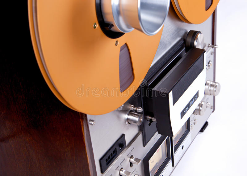 Analog Stereo Open Reel Tape Deck Recorder Player with Metal Ree. Ls Reels royalty free stock image