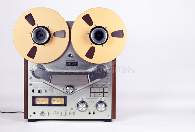 Analog Stereo Open Reel Tape Deck Recorder Player with Reels. Analog Stereo Open Reel Tape Deck Recorder Player with Metal Reels royalty free stock images