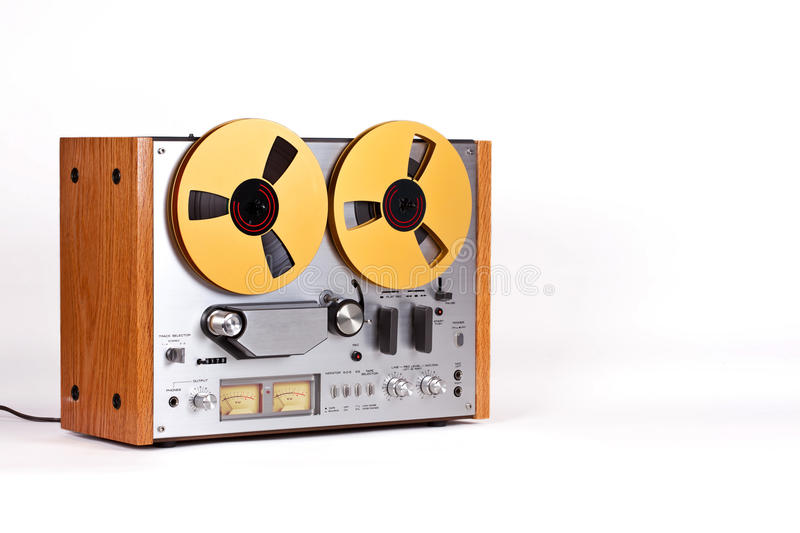 Analog Stereo Open Reel Tape Deck Recorder Player stock photo