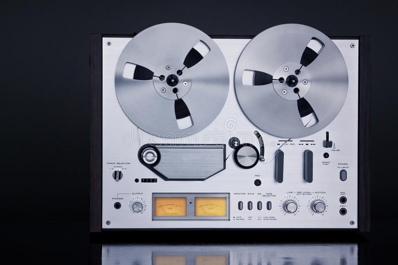 Analog Stereo Open Reel Tape Deck Recorder Vintage Closeup. Analog Stereo Open Reel Tape Deck Recorder Vintage For Professional Sound Recording stock image