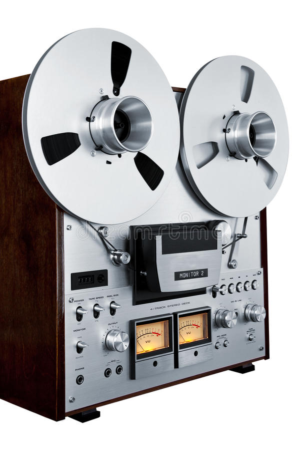 Analog Stereo Open Reel Tape Deck Recorder Vintage Isolated royalty free stock photography