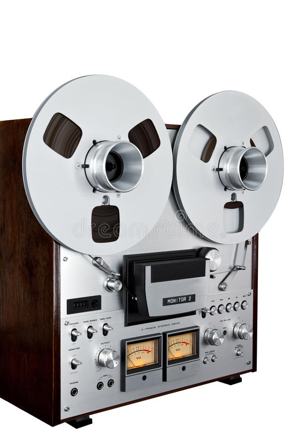 Analog Stereo Open Reel Tape Deck Recorder Vintage Isolated. Closeup royalty free stock images