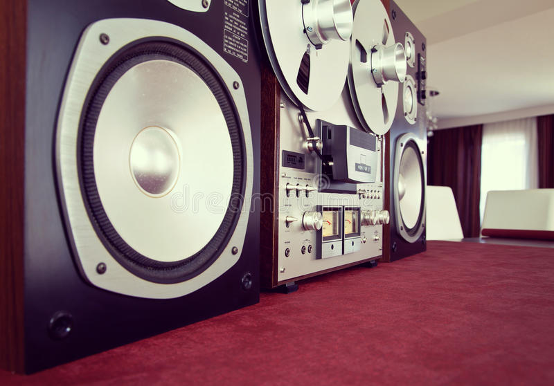 Analog Stereo Open Reel Tape Deck Recorder Vintage with Speakers. Closeup stock images