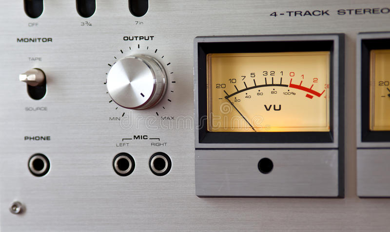 Analog Stereo Open Reel Tape Deck Recorder VU Meter. Analog Stereo Open Reel Tape Deck Recorder Bright Yellow VU Meter Device stock images