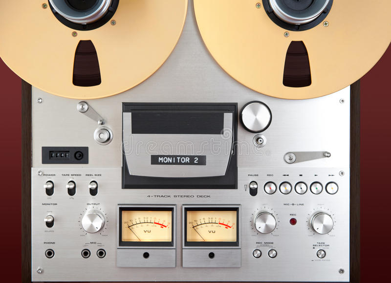 Analog Stereo Open Reel Tape Deck Recorder VU Meter Closeup royalty free stock image