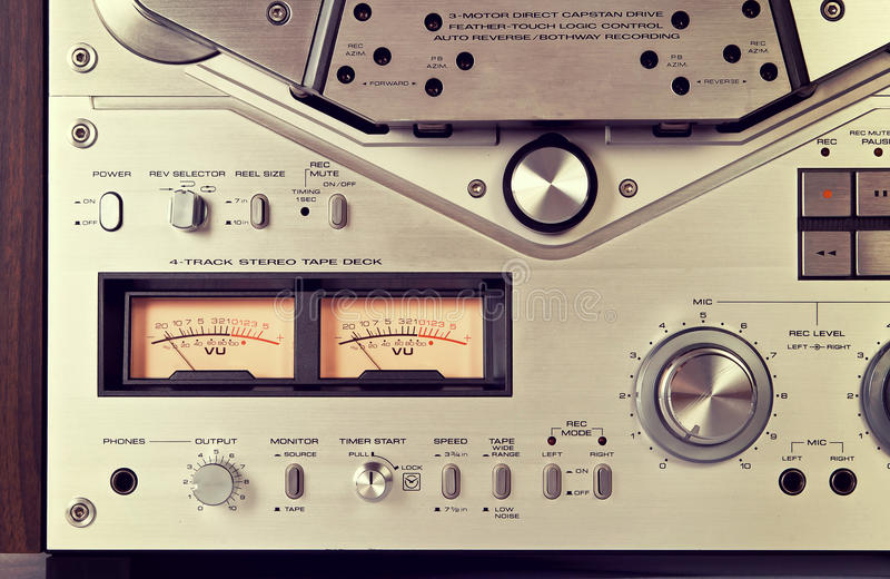 Analog Stereo Open Reel Tape Deck Recorder VU Meter Device Close. Up Vintage royalty free stock image