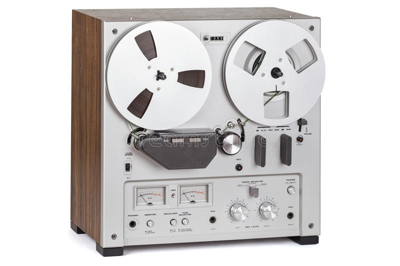 Analog Stereo Reel Recorder Player. Analog Stereo Reel Tape Deck Recorder Player over white stock image
