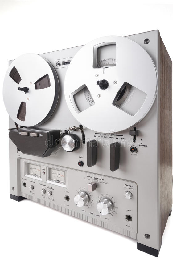 Analog Stereo Reel Recorder Player. Analog Stereo Reel Tape Deck Recorder Player over white royalty free stock image