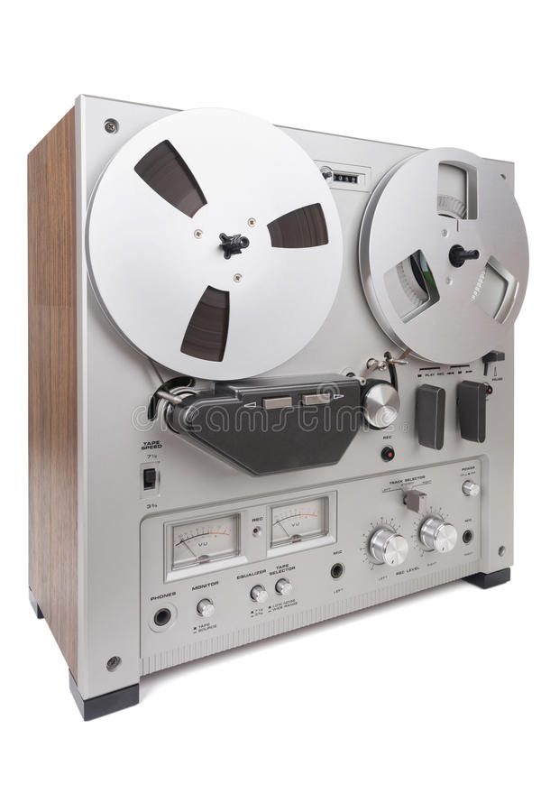 Analog Stereo Reel Recorder Player. Analog Stereo Reel Tape Deck Recorder Player over white royalty free stock photo