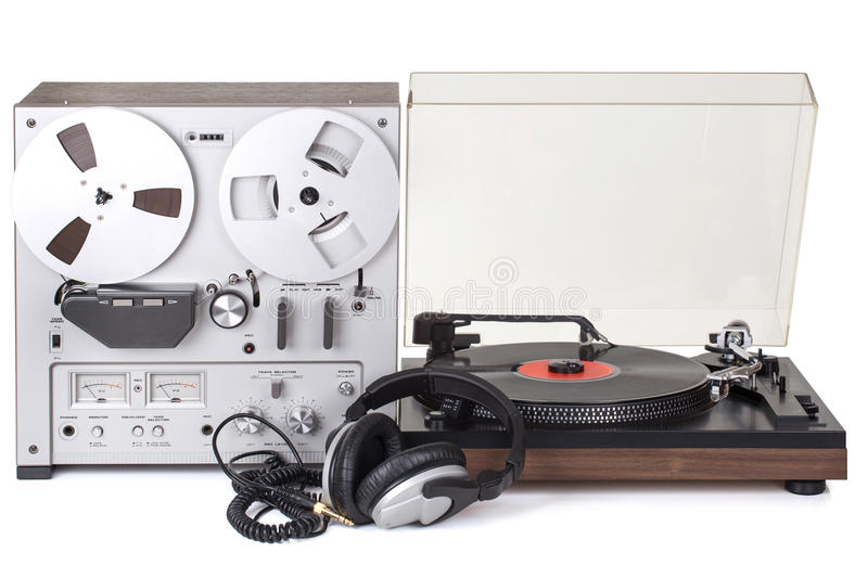 Analog Stereo Reel Tape Recorder Player. And Analog turntable royalty free stock images