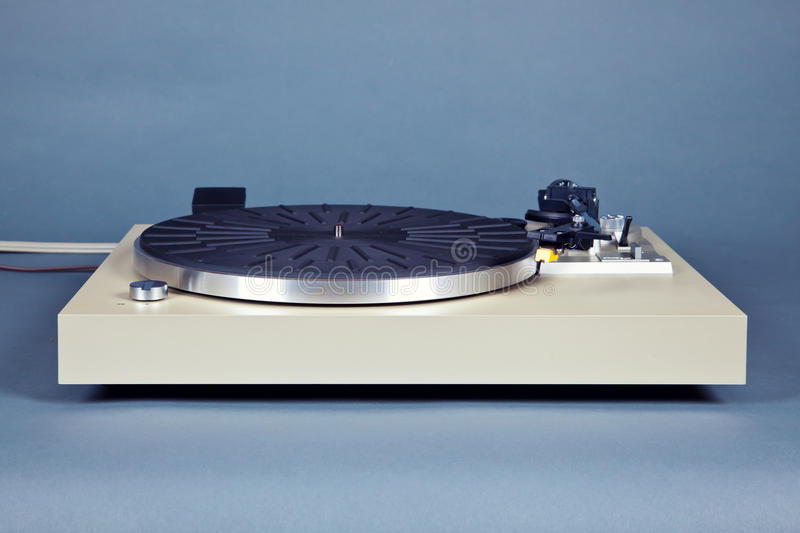 Analog Stereo Turntable Vinyl Blue Record Player. Frontal View stock photography