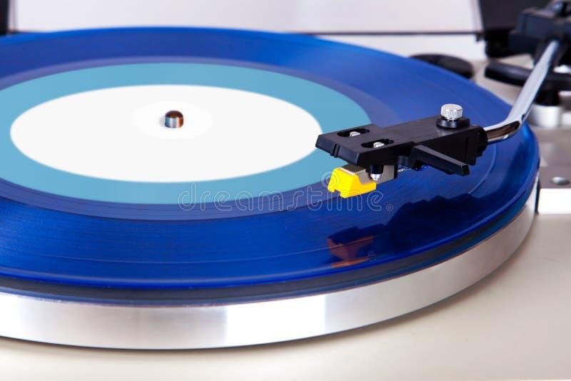 Analog Stereo Turntable Vinyl Blue Record Player Headshell. Cartridge royalty free stock photo