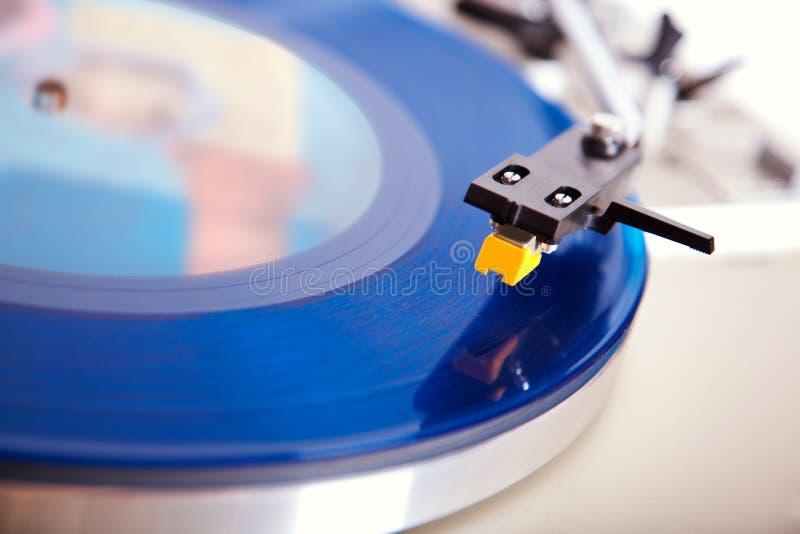 Analog Stereo Turntable Vinyl Blue Record Player Headshell. Cartridge royalty free stock photos