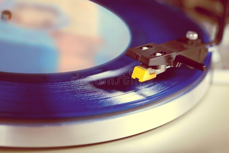 Analog Stereo Turntable Vinyl Record Player. Closeup royalty free stock photos