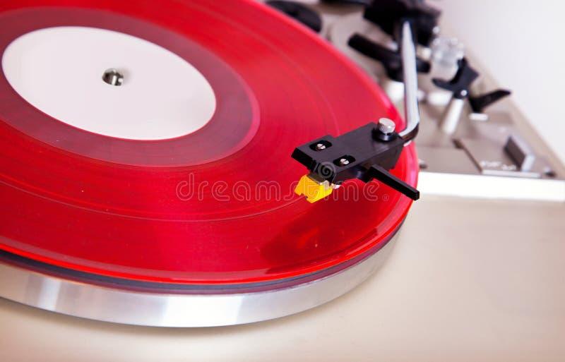 Analog Stereo Turntable Vinyl Record Player Headshell Cartridge. Analog Stereo Turntable Red Vinyl Record Player Headshell Cartridge royalty free stock photo