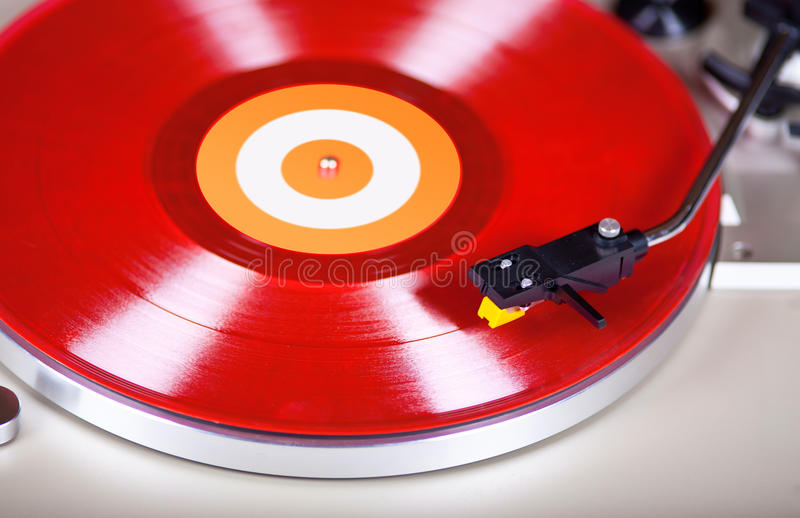 Analog Stereo Turntable Vinyl Record Player Headshell Cartridge. Analog Stereo Turntable Red Vinyl Record Player Headshell Cartridge royalty free stock images