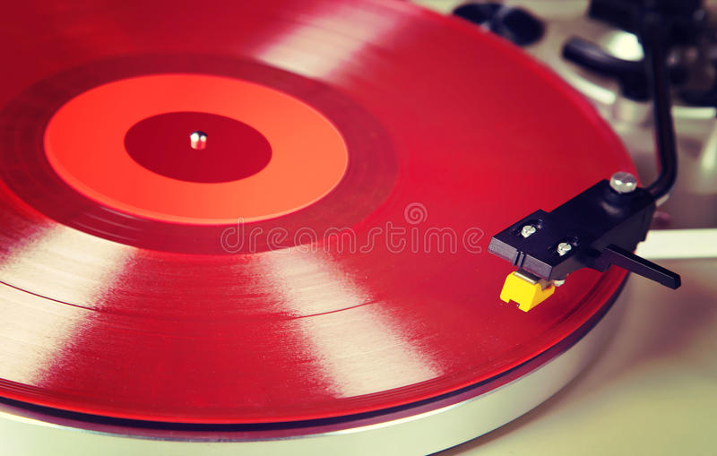 Analog Stereo Turntable Vinyl Red Record Player Headshell Cartri. Dge royalty free stock image