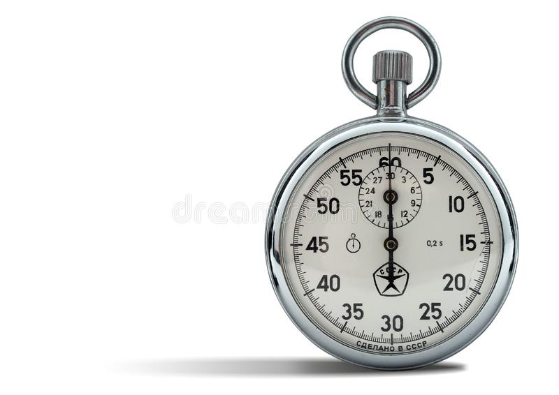 Analog stop watch. In white stock images