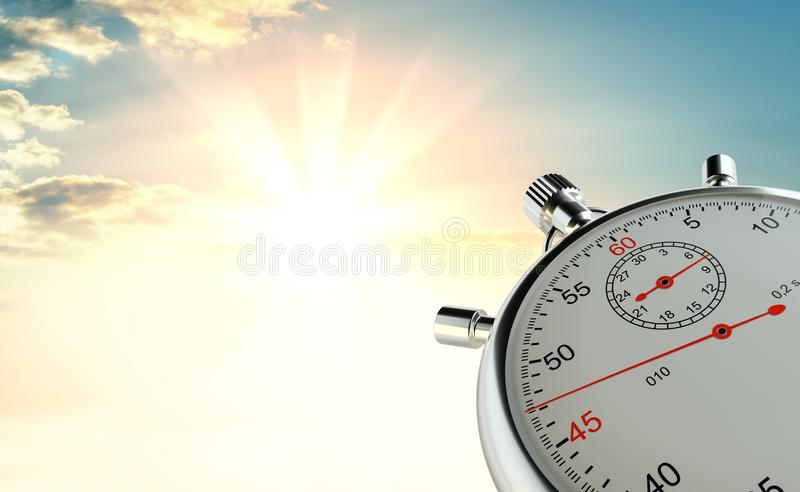 Analog stopwatch against the background of sunrise. The concept of speed and achievements. 3d illustration stock photo
