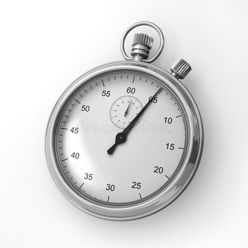 Analog stopwatch on a white background stock images