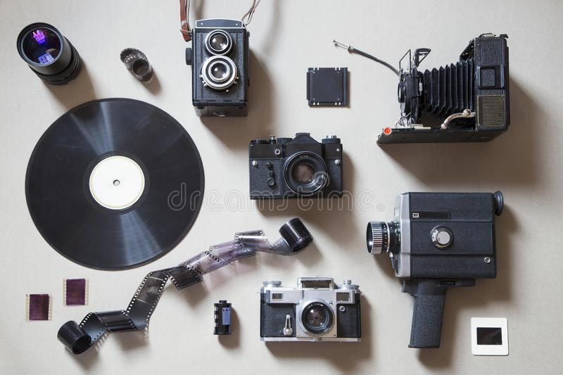 Analog technology items. On gray background royalty free stock image