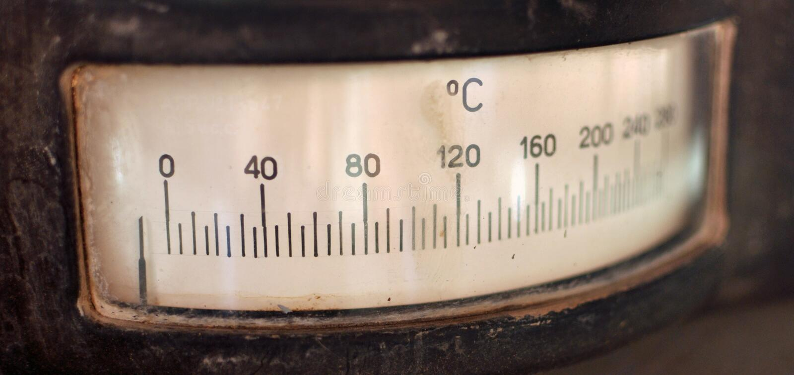 Analog thermometer. Close up od an old vintage analog thermometer stock images