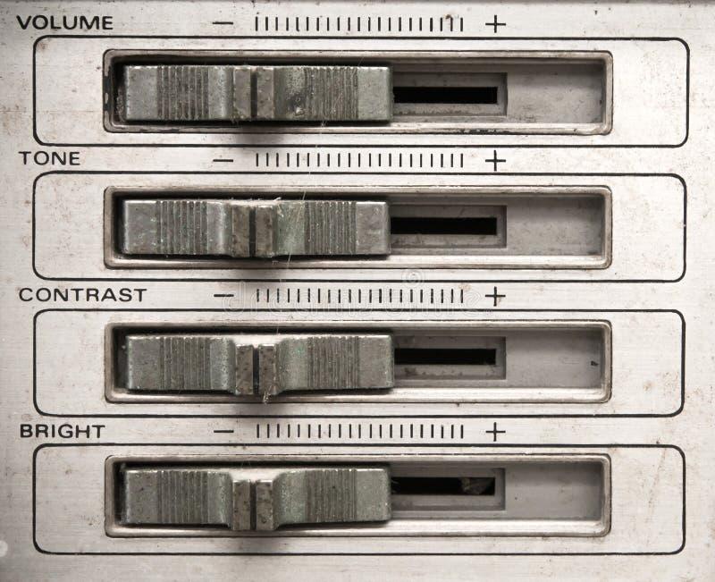 Analog tv control panel. With volume,tone,contrast,brightness control slider stock photos