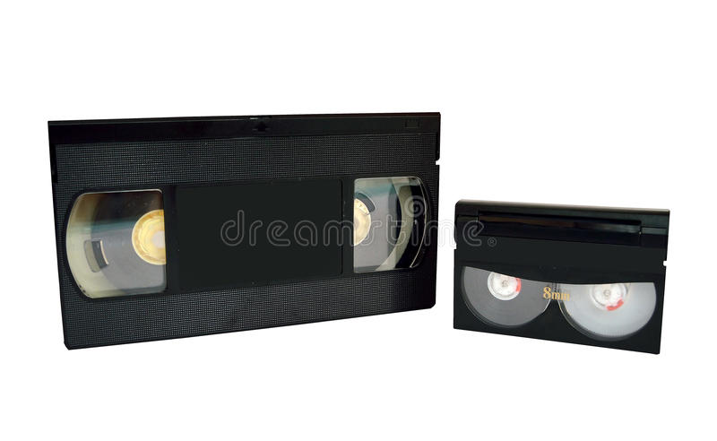 Analog video tapes. Two analog video tapes on a white background. Photographed in Madrid, Spain, June 22, 2015 royalty free stock photography