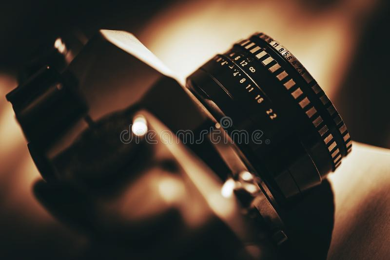 Analog Vintage Camera. With Prime Lens Closeup Photo. History of Photography stock image