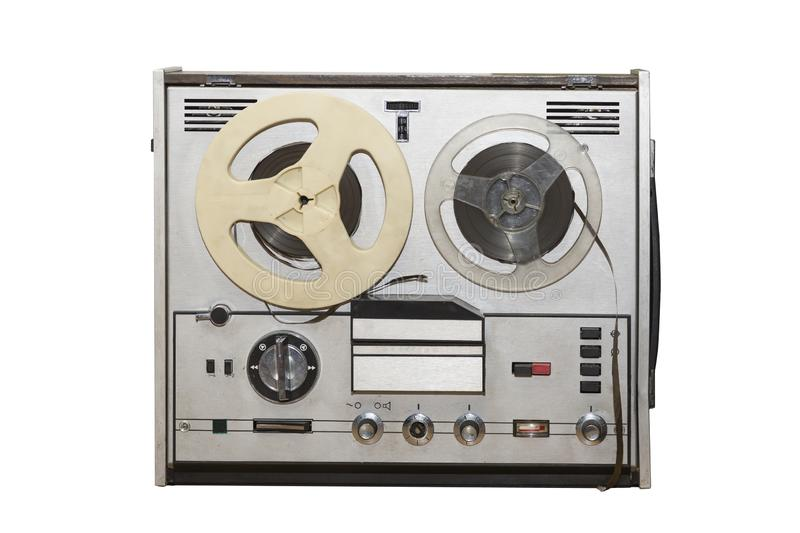 Analog vintage stereo reel tape deck recorder player with metallic reels isolated on white background stock image