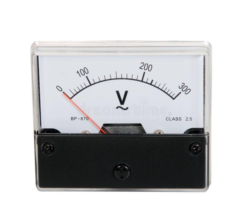 Analog voltmeter. Isolated over white background stock image