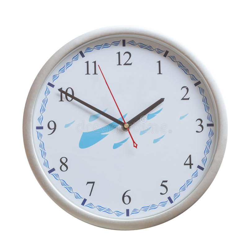 Analog wall clock on isolate. Old analog wall clock on isolate stock photo