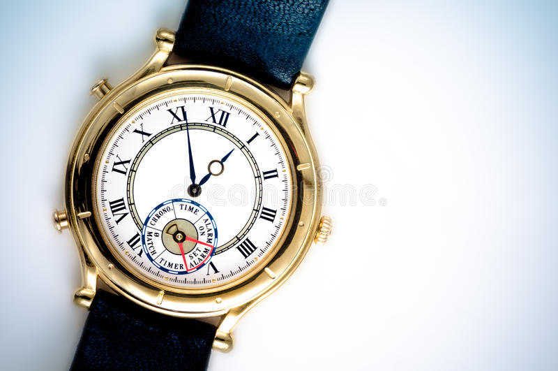 Analog Wrist Watch. Closeup on white background stock photos