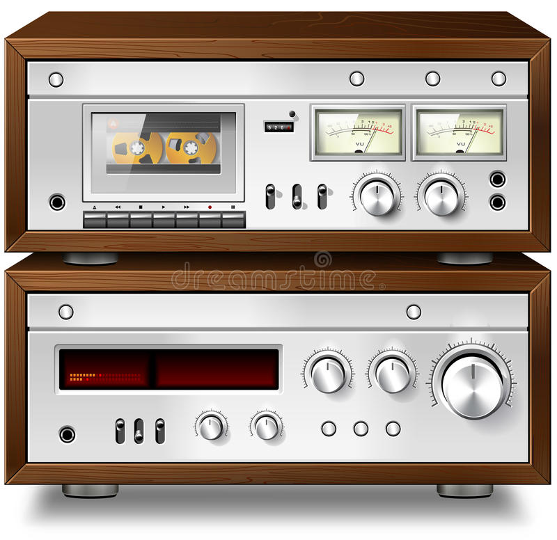 Analoge Musik-Stereokompaktes Audiokassettendeck mit Verstärker V lizenzfreie abbildung