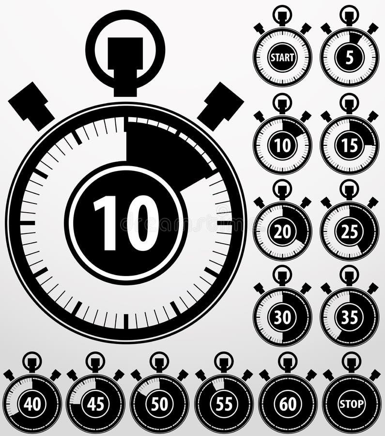 Analoge Timer-Ikonen eingestellt, Vektor lizenzfreie abbildung
