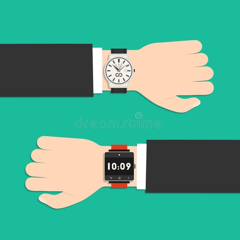 Analoge Uhr und intelligente Uhr auf der Hand des Geschäftsmannes stock abbildung