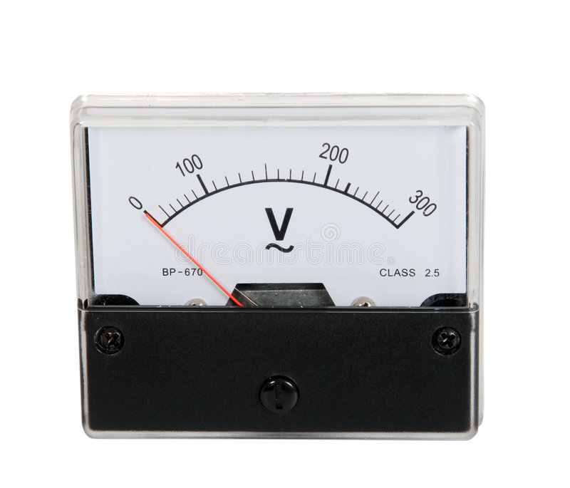 Analoge voltmeter stock afbeelding
