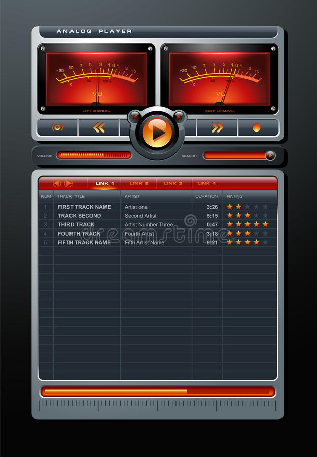 Analoger Stereolithographie MP3-Musik-Media Player-Vektor stock abbildung