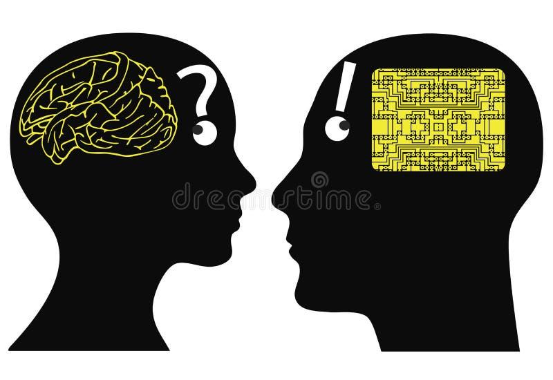 Analoger und digitaler Verstand lizenzfreie abbildung
