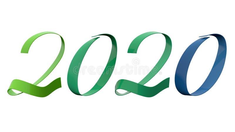Analogi för 2020 siffror för nytt år färgar 195 grader grönt, och den blåa glansiga metalliska bandtiteln 3D framför i upplösning arkivfoto