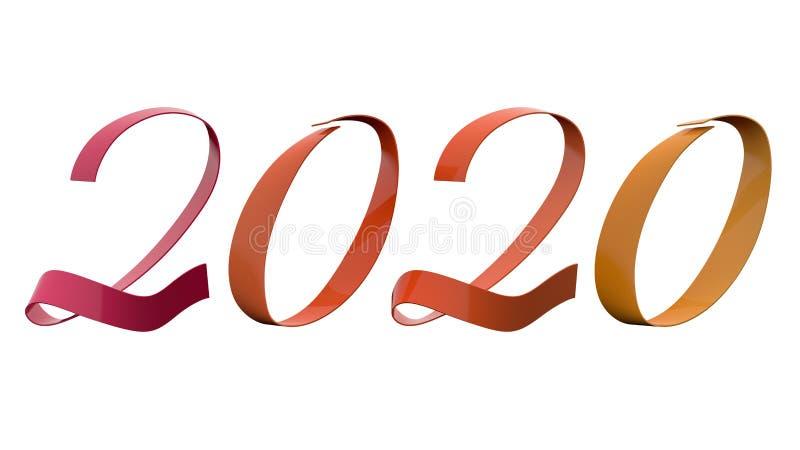 Analogi för 2020 siffror för nytt år färgar 15 grader lilor som den orange gula glansiga metalliska bandtiteln 3D framför isolera royaltyfri fotografi