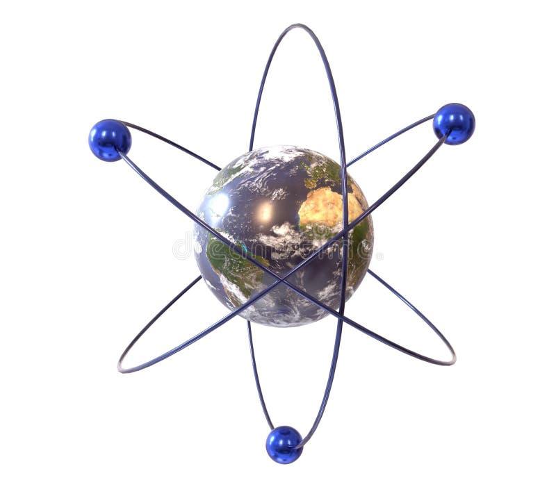 Analogie van de aarde en het atoom, 3d illustratie stock fotografie