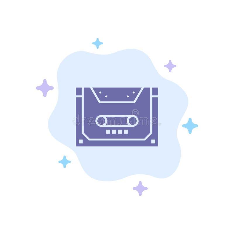 Analogo, audio, cassetta, compatto, icona blu della piattaforma sul fondo astratto della nuvola royalty illustrazione gratis