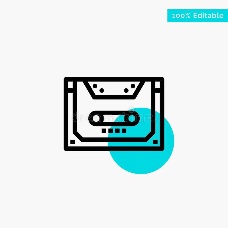 Analogo, audio, cassetta, compatto, icona di vettore del punto del cerchio di punto culminante del turchese della piattaforma royalty illustrazione gratis