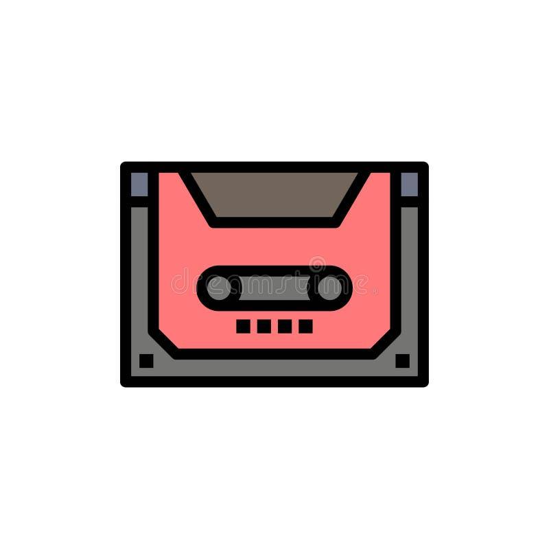Analogo, audio, cassetta, compatto, icona piana di colore della piattaforma Modello dell'insegna dell'icona di vettore royalty illustrazione gratis