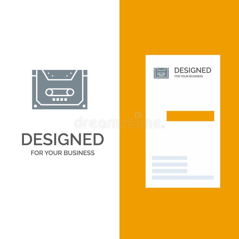 Analogo, audio, cassetta, compatto, piattaforma Grey Logo Design e modello del biglietto da visita illustrazione di stock