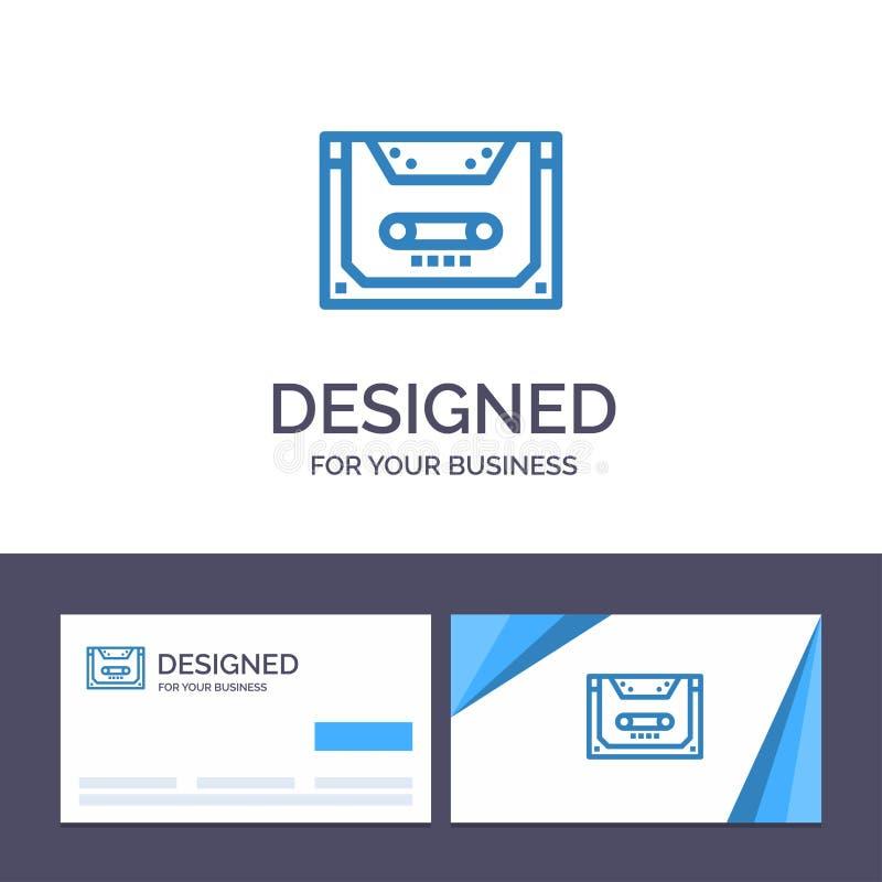 Analogo del modello creativo di logo e del biglietto da visita, audio, cassetta, compatto, illustrazione di vettore della piattaf illustrazione vettoriale
